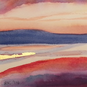 Watercolour Painting Tallows Beach Sunrise #1