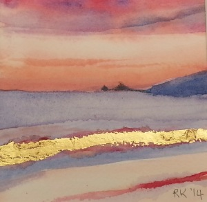 Watercolour Painting Tallows Beach Sunrise #2