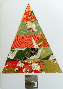 Japanese Paper Collage Christmas Card