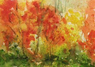 Autumn Road #1 watercolour