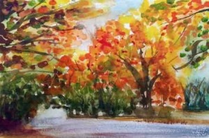 Autumn Road #2 Watercolour