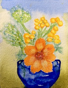 'Cafe Flowers' watercolour  painting.