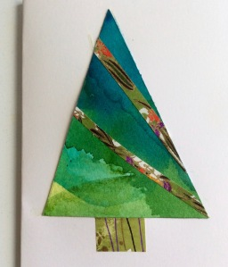 Christmas Tree Card Watercolour and Japanese Paper